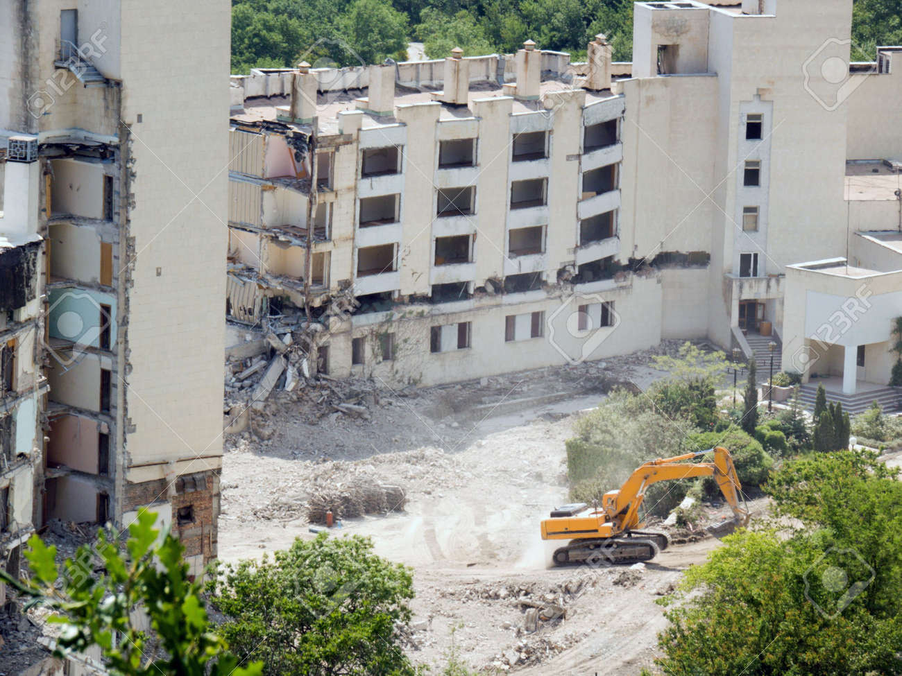 The destroyed buildings  Liquidation of consequences of earthquake