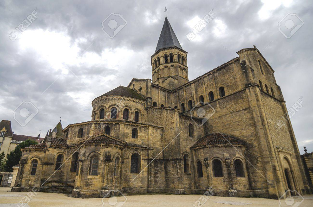 Architecte Paray Le Monial romanesque church of paray le monial from back, france