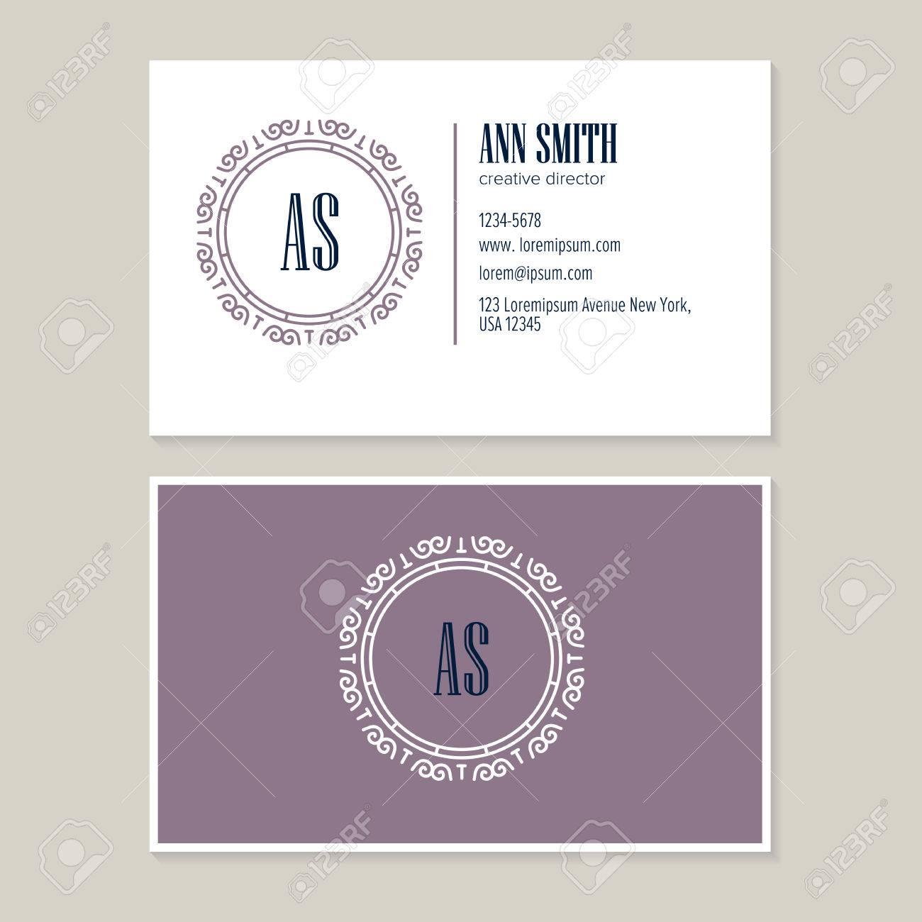 Elegant Flower Line Art Logo Design With Template Business Card ...
