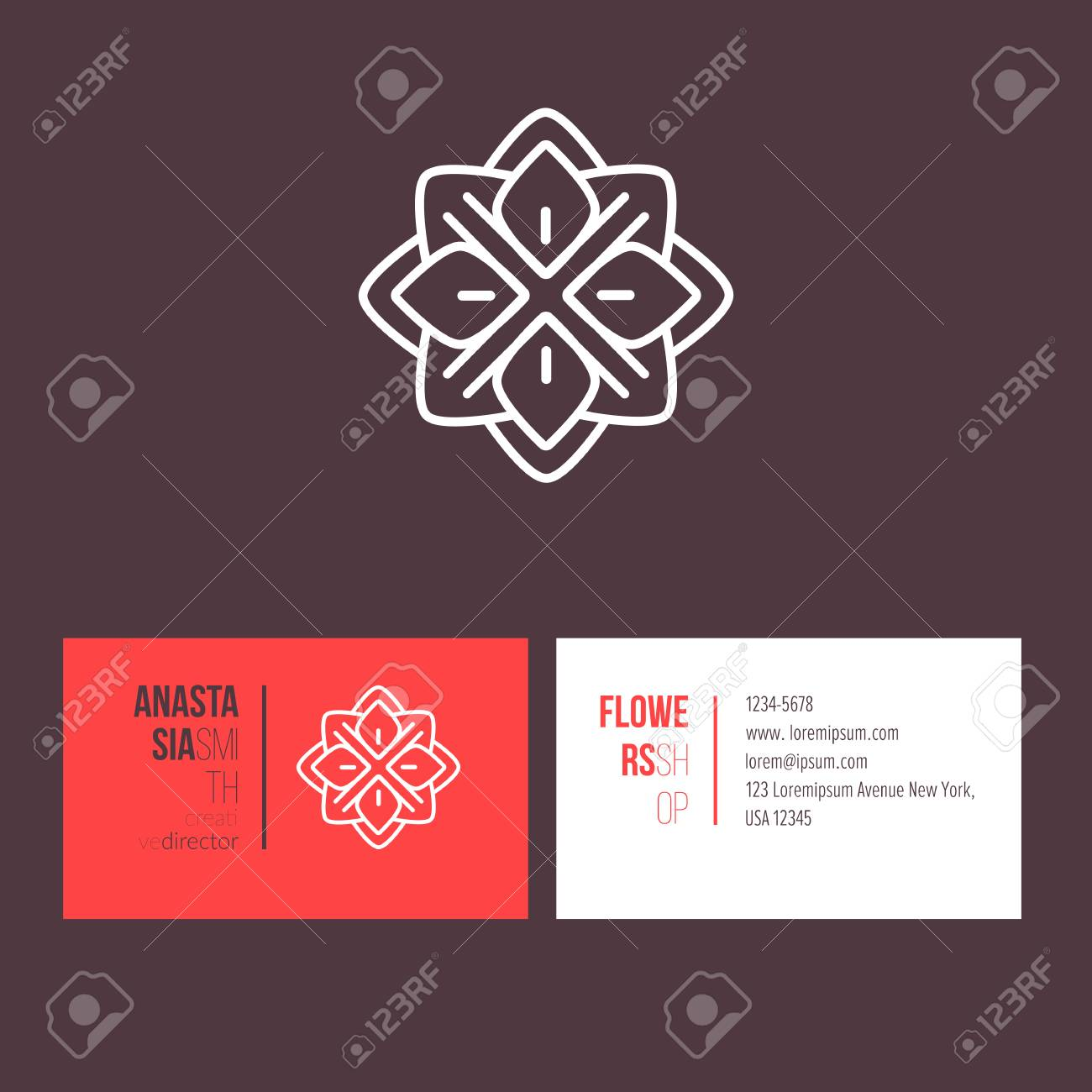 Abstract flower linear logotype design with template business abstract flower linear logotype design with template business card for creative director visual identity for fbccfo Choice Image
