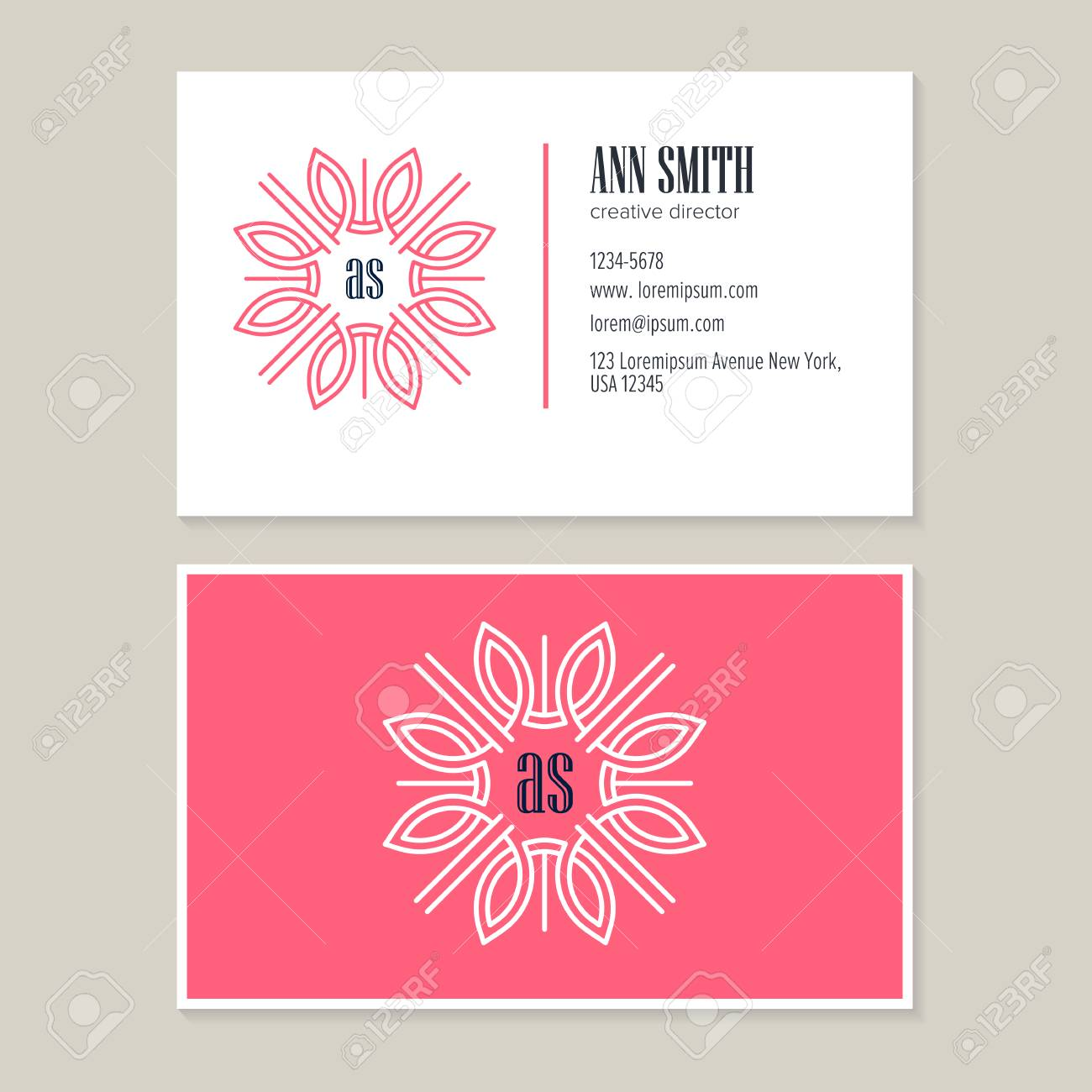 Elegant Flower Line Art Logo Design With Template Business Card ...