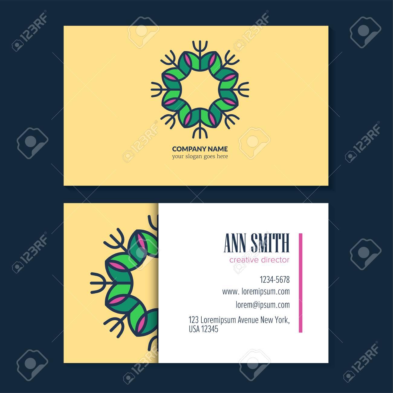 Lgant Dessin Au Trait Logo Design Avec Carte De Visite Modle