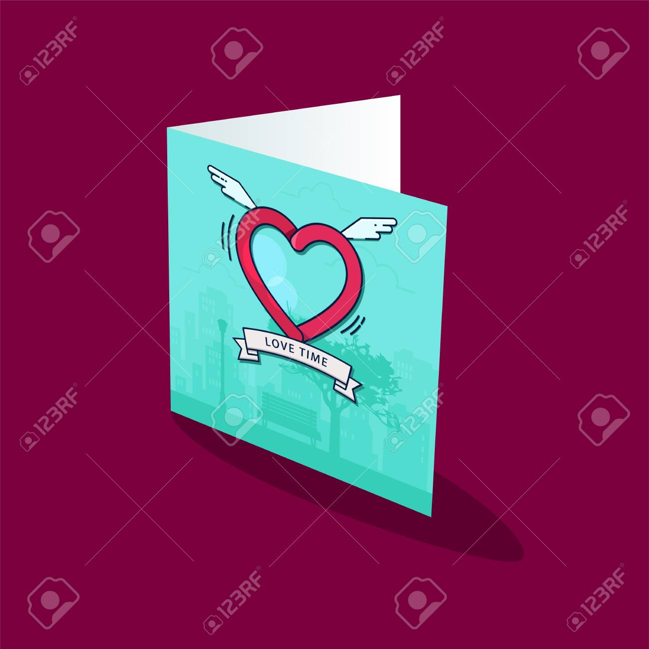 greeting card template heart with wings in the sky with clouds
