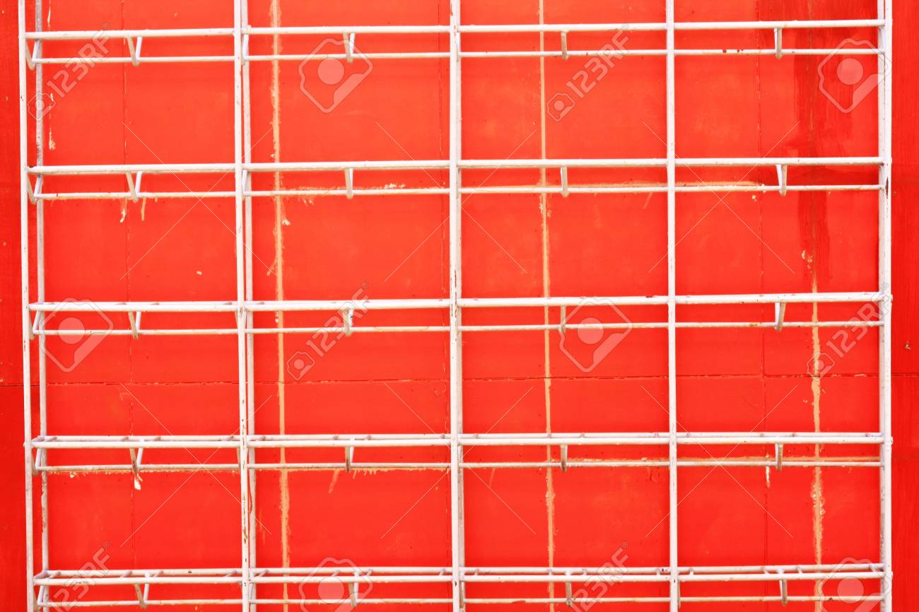 Red wall and shelves background Stock Photo - 9095748