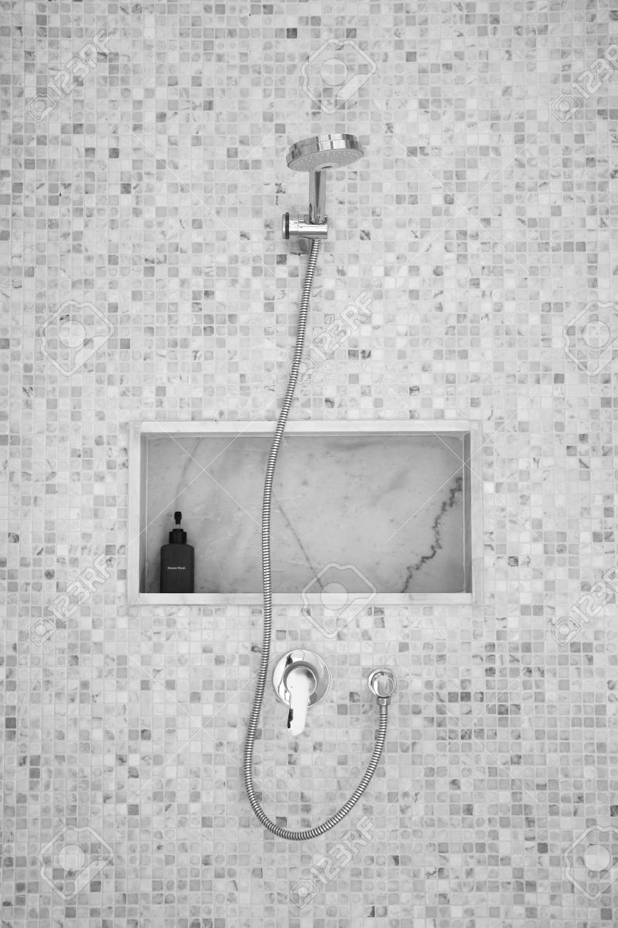 shower on small tile wall Stock Photo - 21115398