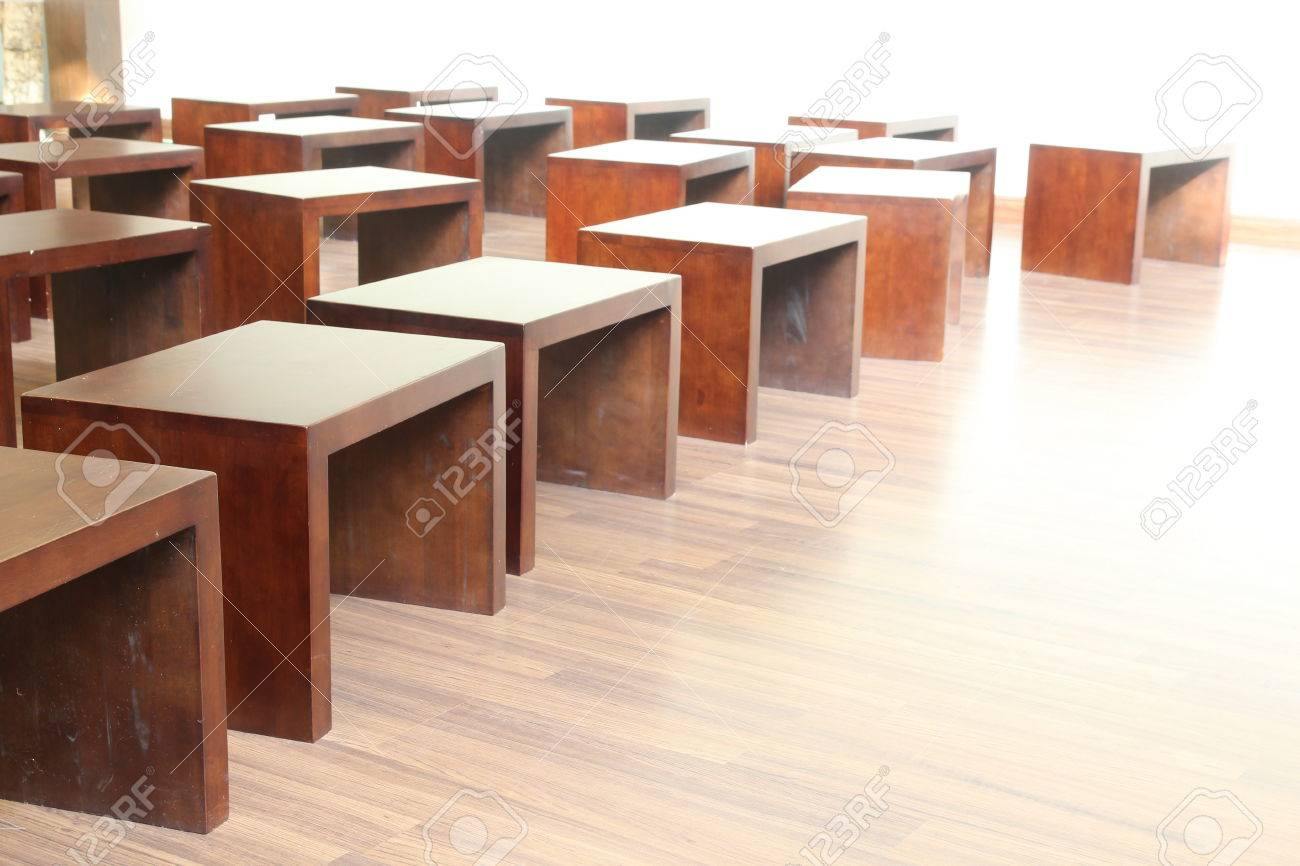 Many Small Wood Chair In Room Stock Photo   36233745
