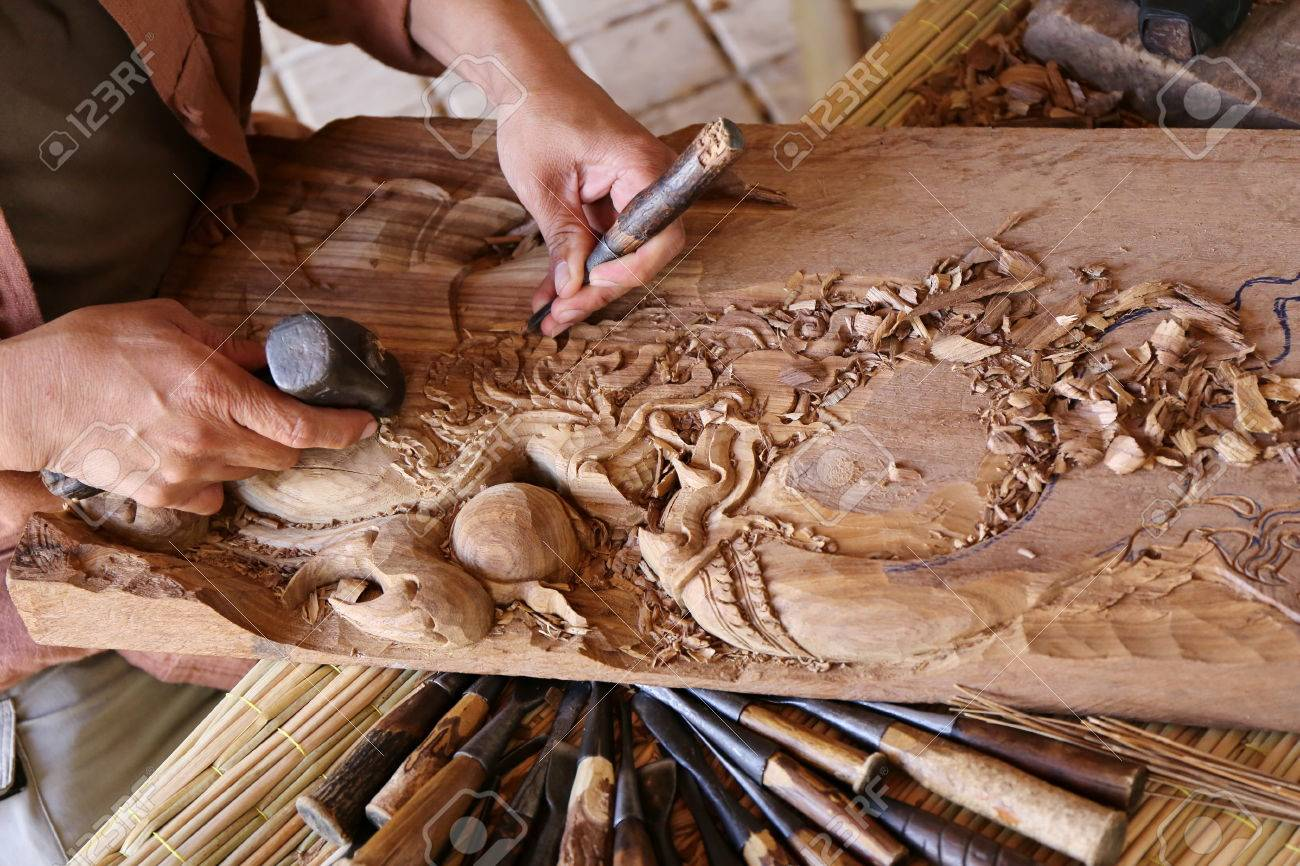Craftsman Carving Wood Thai Art Stock Photo Picture And Royalty