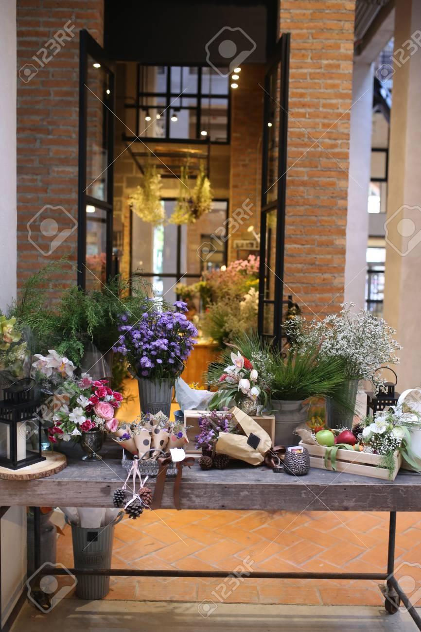 Entrance Into Flower Shop Block Wall Building And Steel Door Stock