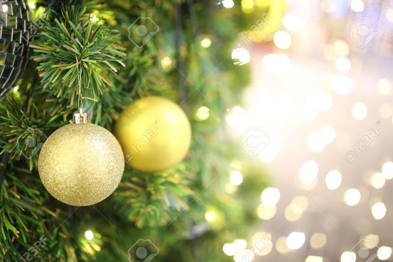 Gold Color Christmas Ball Hang On Green Pine Tree With Blurred ...