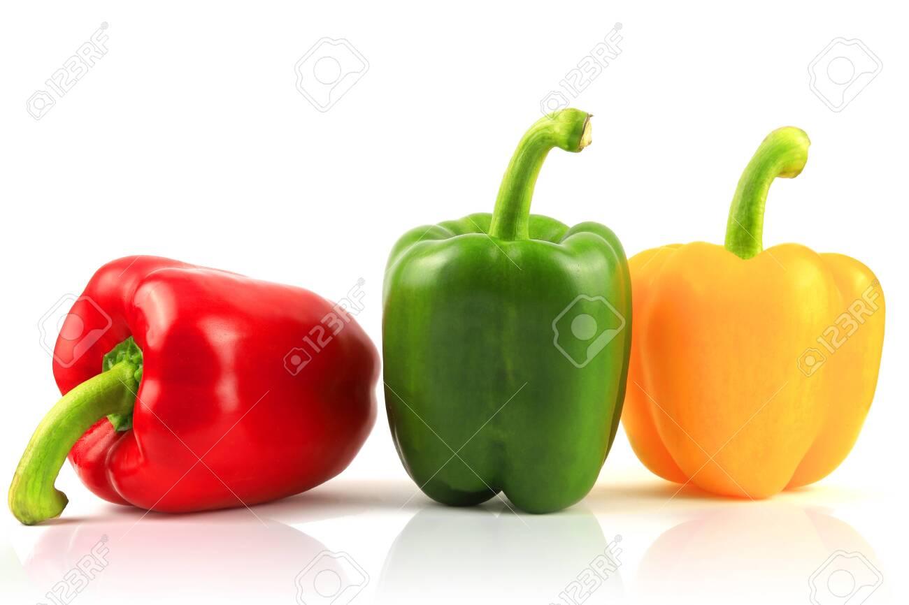 Fresh Green, yellow, red bell pepper. Sweet pepper. Giant pepper. Isolate on white background. - 147537050
