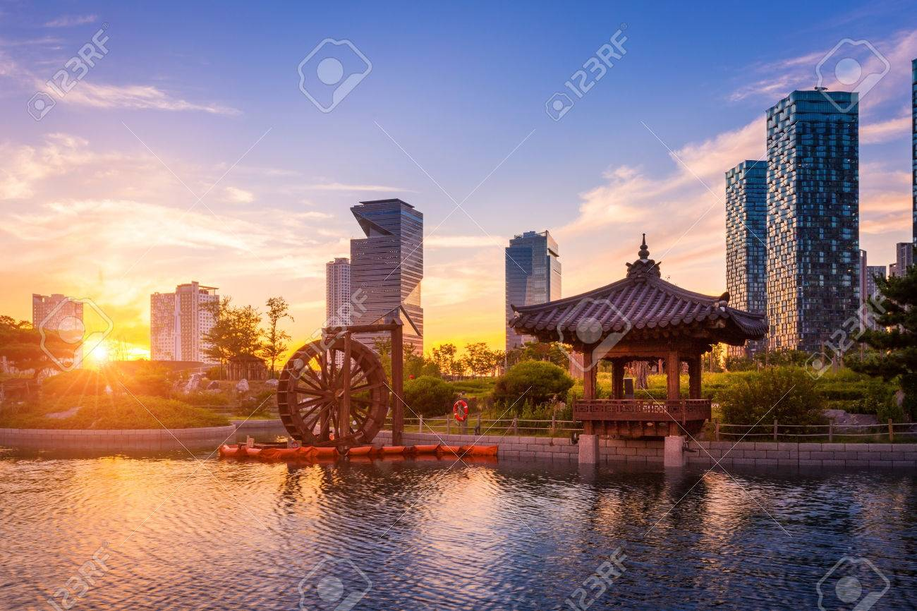 Seoul City With Beautiful Sunset Traditional And Modern Architecture