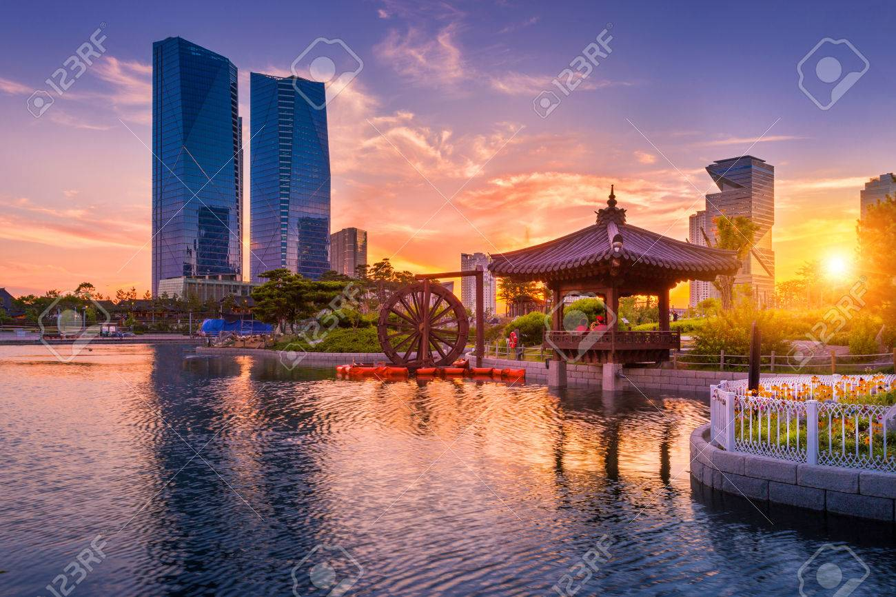 Traditional And Modern Architecture Of Seoul City In Sunset Stock