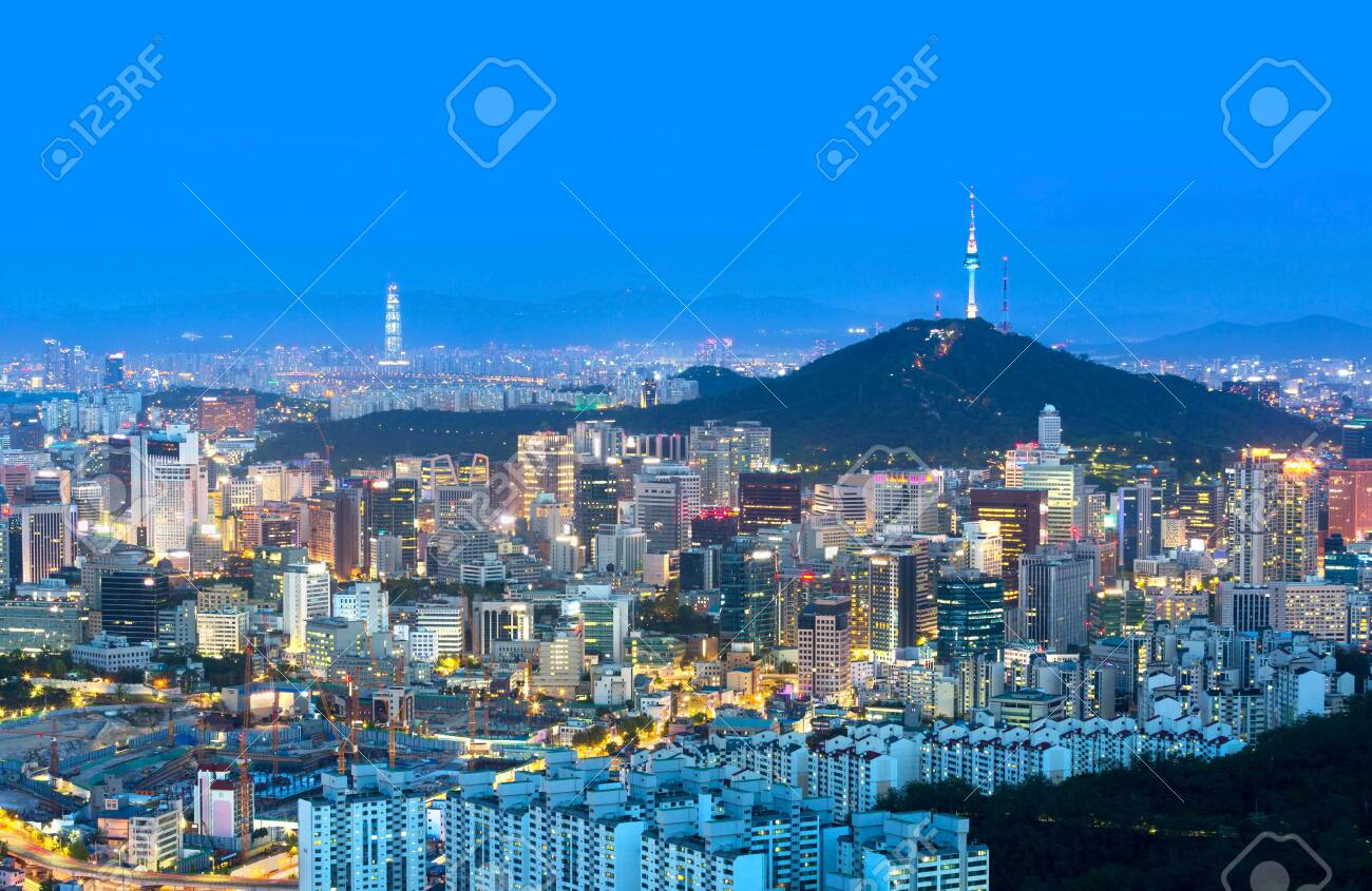 Seoul city and n seoul tower and Skyscrapers, Beautiful city at night, South Korea. - 134780368