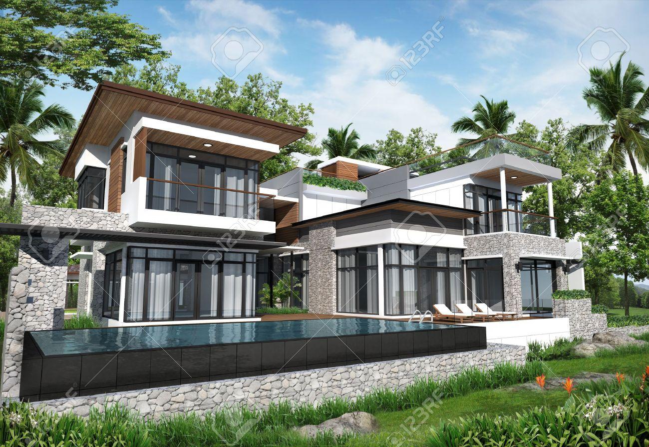 3D render of building tropical modern pool house in thailand Stockfoto - 13542538 & 3D Render Of Building Tropical Modern Pool House In Thailand Royalty ...