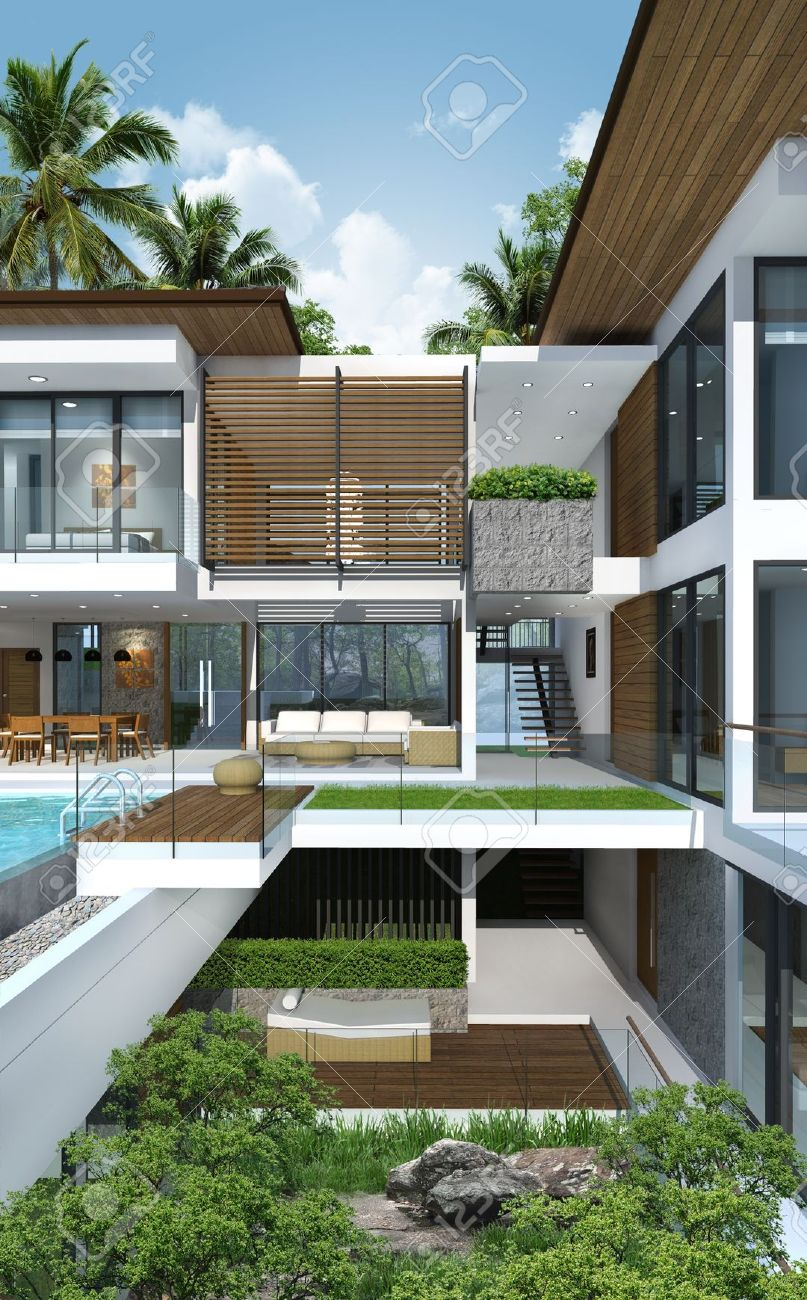 3Dof Building ropical Modern House Stock Photo, Picture nd ... - ^