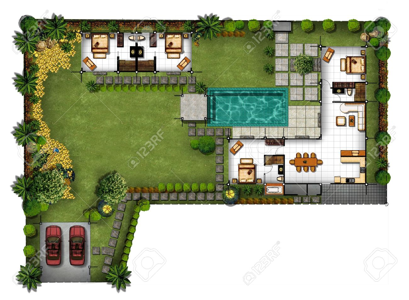 3d Proposal Of Planning House With With Green Area Stock Photo   14507996
