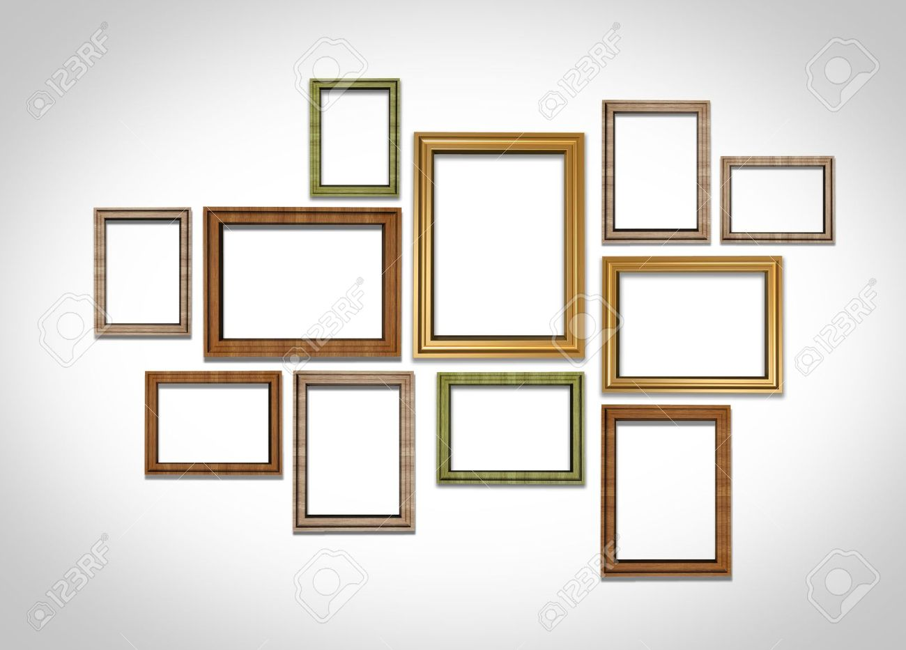Picture Frames On White Wall Stock Photo, Picture And Royalty Free ...