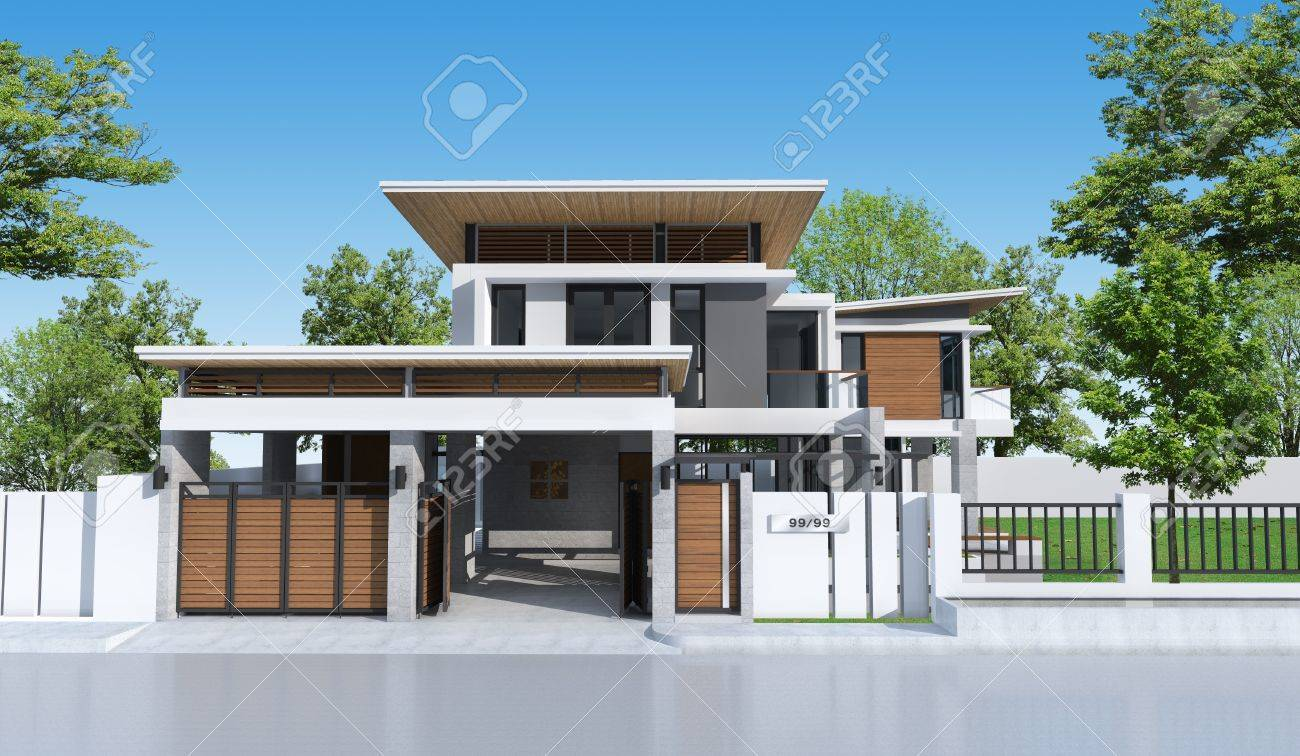 3d building tropical house stock photo 16545005