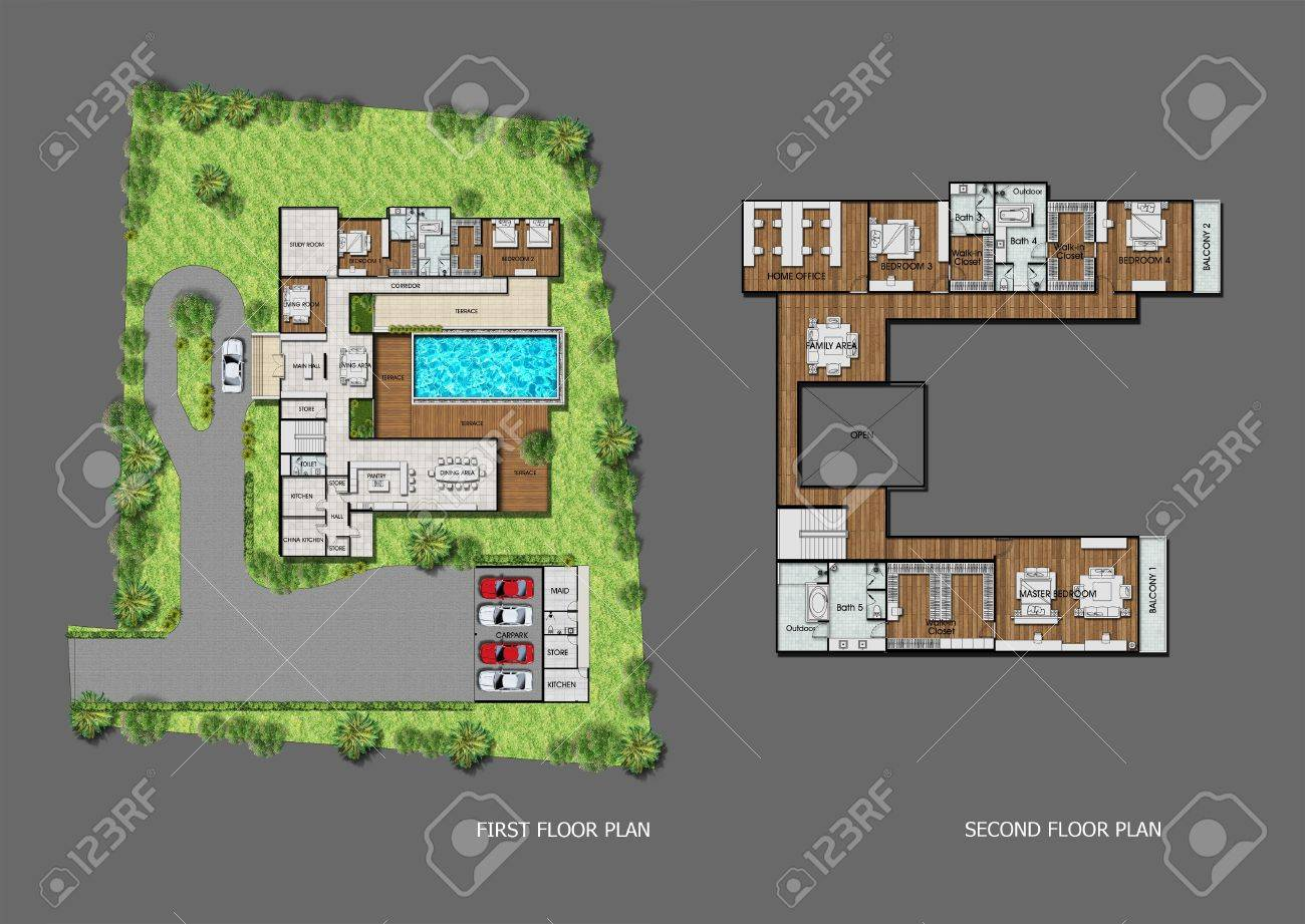 proposal planning of house with green area stock photo picture