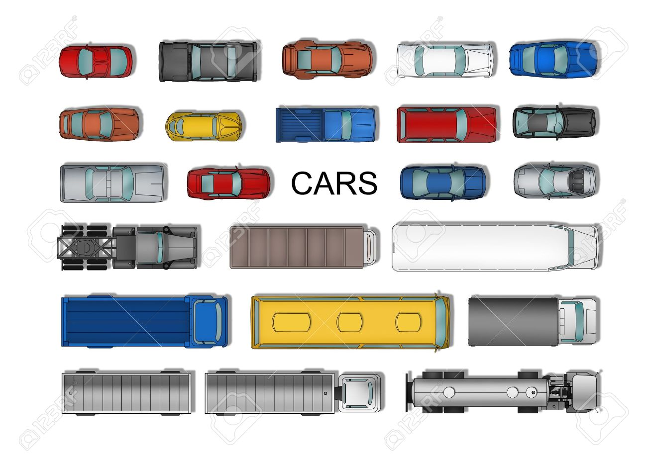 Top view different cars set isolated on white Stock Photo - 19259091