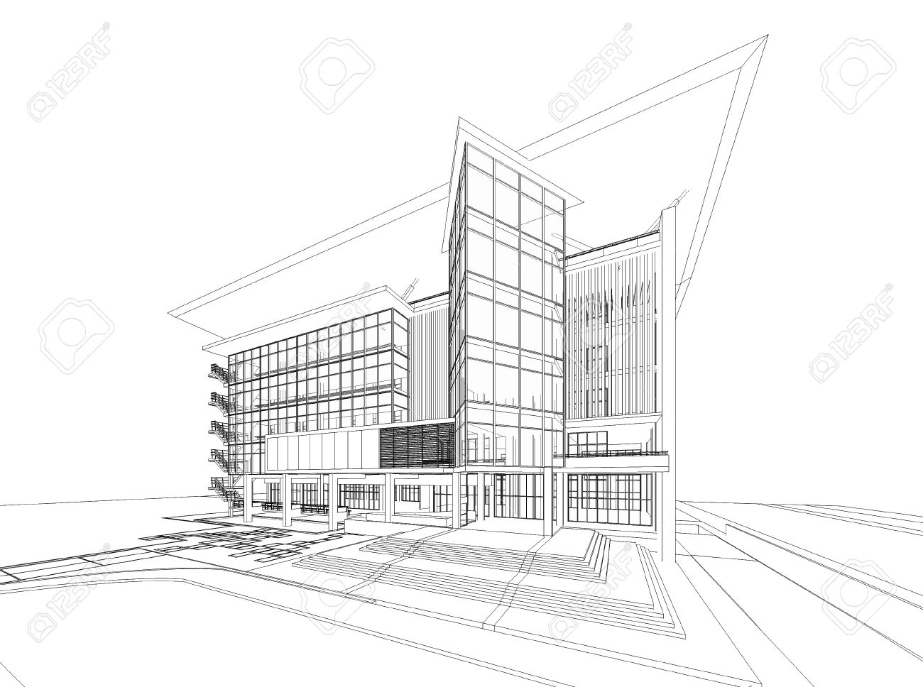 wireframe of building stock photo picture and royalty free image