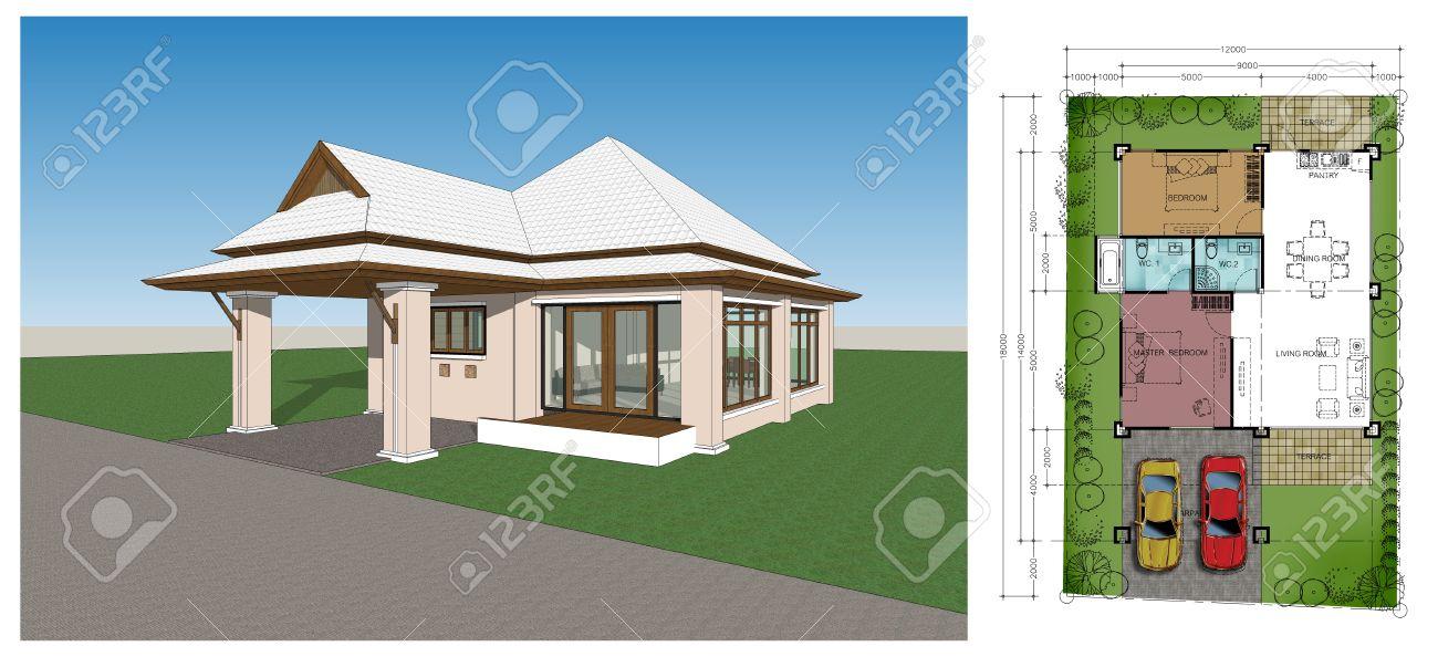 plan maison tropicale moderne