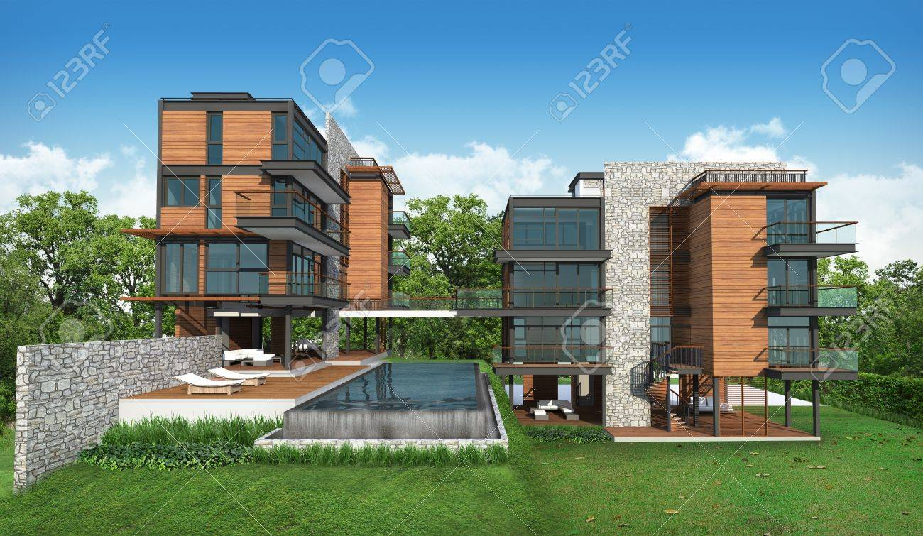 3d render of building tropical modern house Stock Photo - 19977823 & 3d Render Of Building Tropical Modern House Stock Photo Picture ...