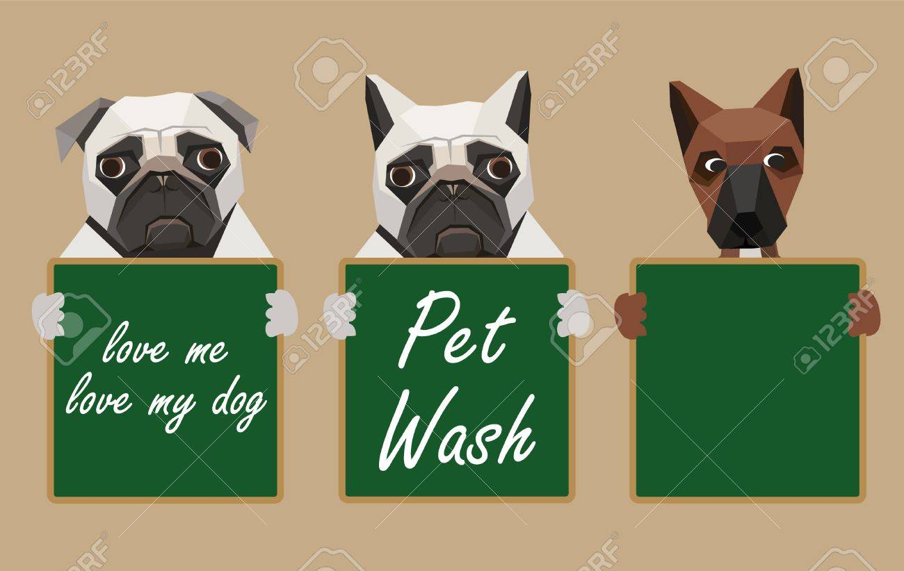 Three dogs holding green chalk board Stock Vector - 20440665
