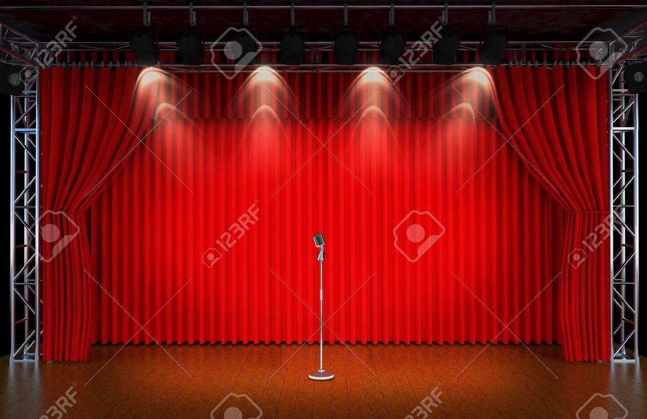 stockfoto vintage microfoon op theater podium met rode gordijnen en schijnwerpers theatr ical scne in het licht van de schijnwerpers het interieur van