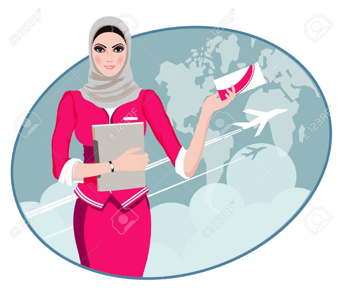 Air Travel Air hostess holding ticket to the flight, presenting her company s services - 21822587