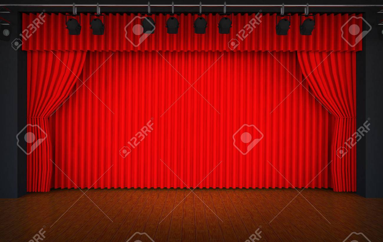 Theater Stage Red Curtains Show Spotlight Stock Photo, Picture And ...