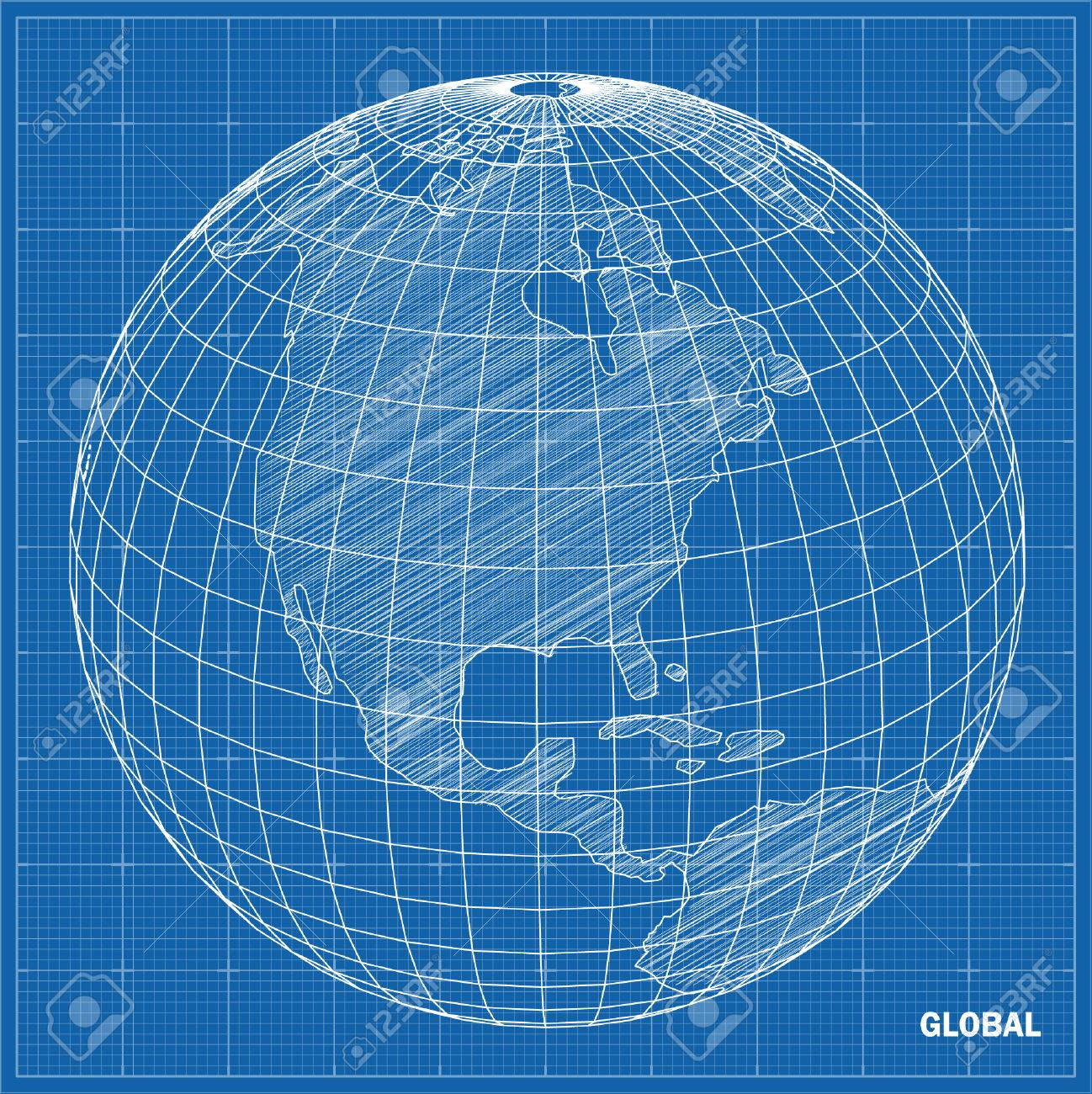 Global sphere blueprint Vector illustration - 25815807