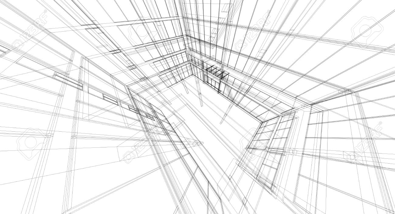 abstract wireframe building 3d render stock photo picture and