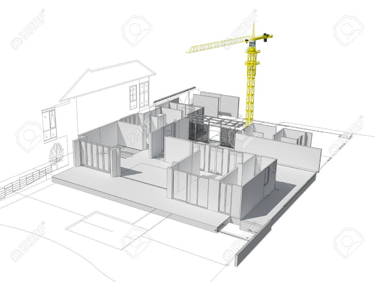 3d Illustration Of Building Design Concept Architects Computer Generated Visualization In Drawing Style Stock Photo