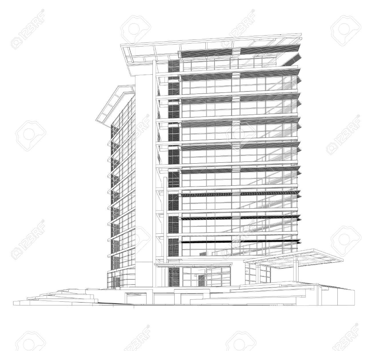 perspective 3d render of building wireframe stock photo picture and