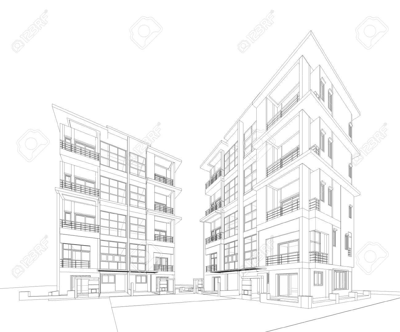 perspective 3d render of building wireframe stock photo picture