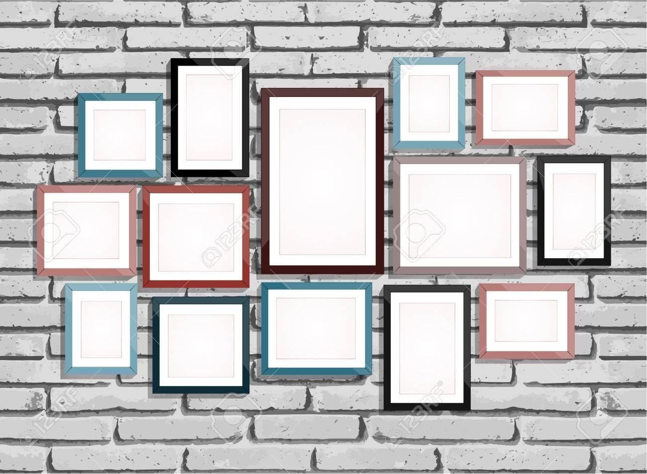 Photo Art Gallery On Brick Wall Stock Vector