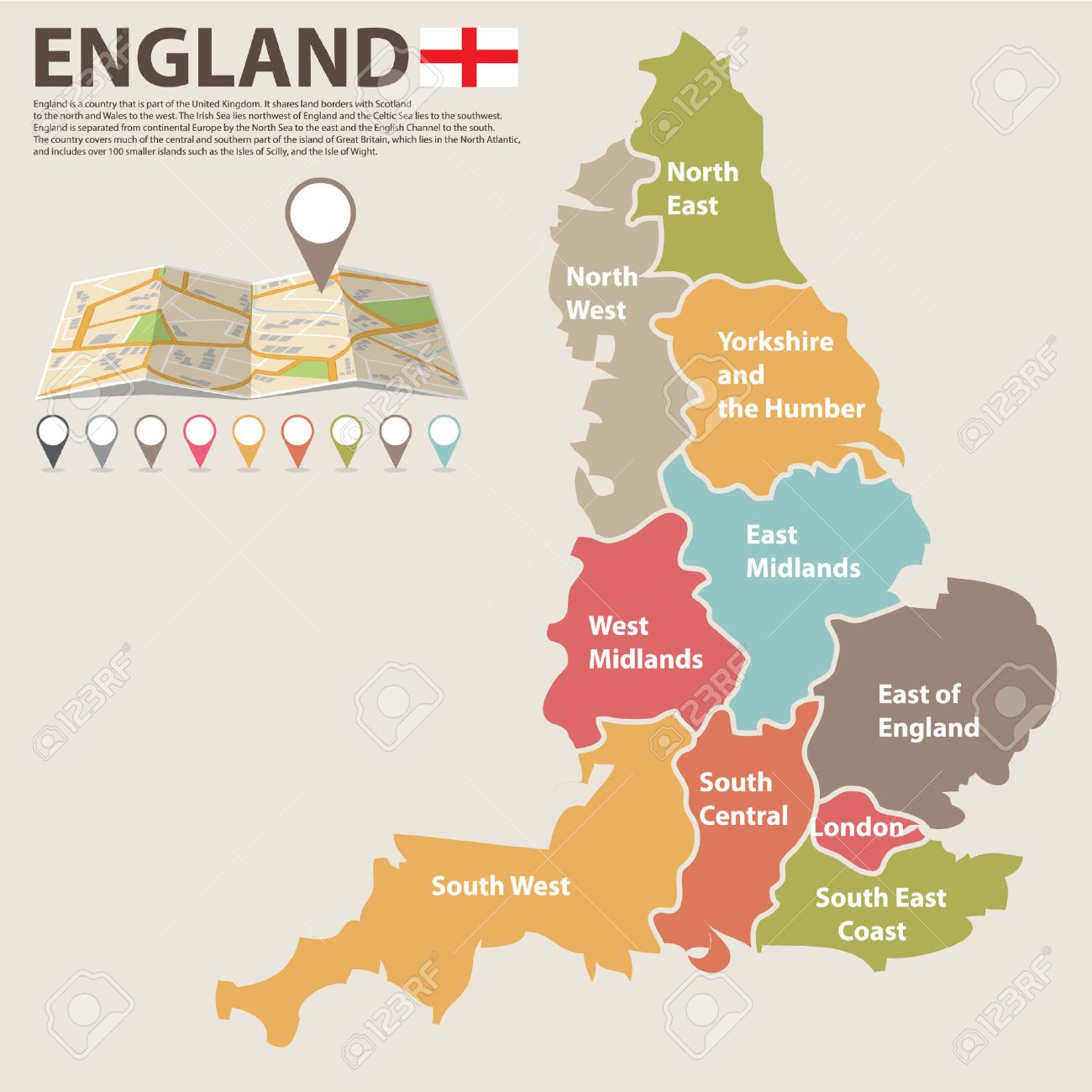 A Large Colored Map Of England With All Counties Royalty Free
