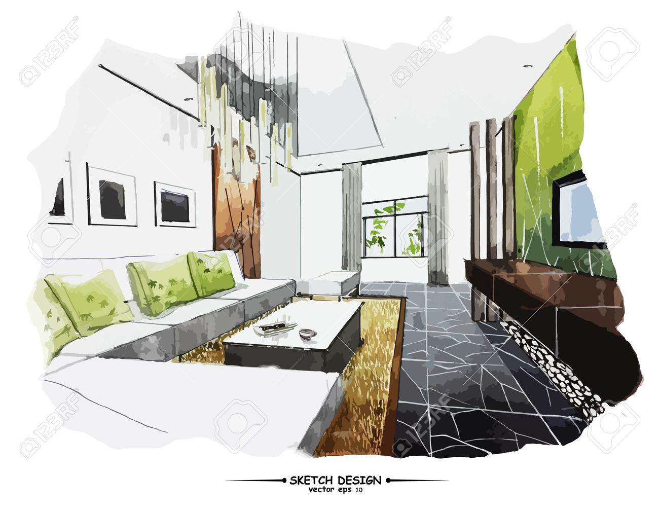 Vector interior sketch design. Watercolor sketching idea on white paper background. - 45570326