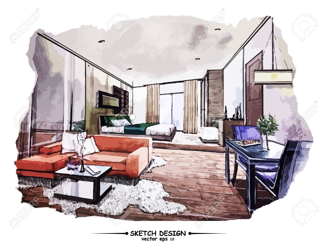 Vector interior sketch design. Watercolor sketching idea on white..