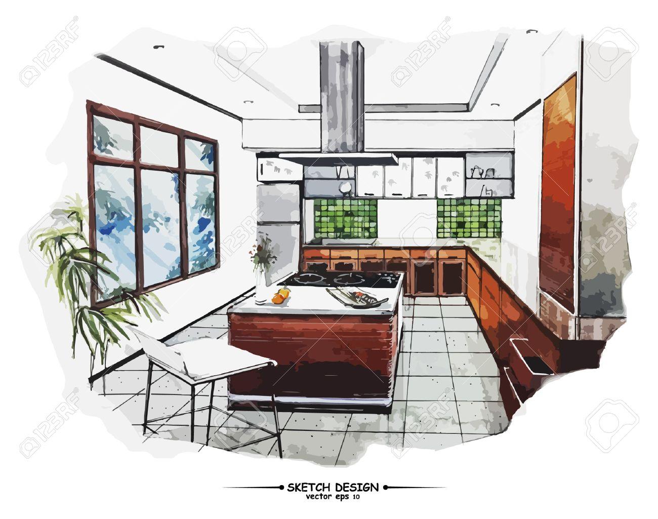 Vector interior sketch design. Watercolor sketching idea on white paper background - 45570732