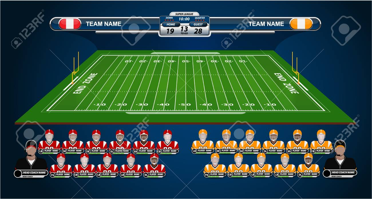 American Football Field And Player Lineup With Set Of Info Graphic