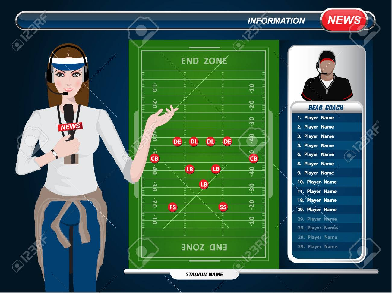 American Football Field And Player Lineup With Set Of Infographic