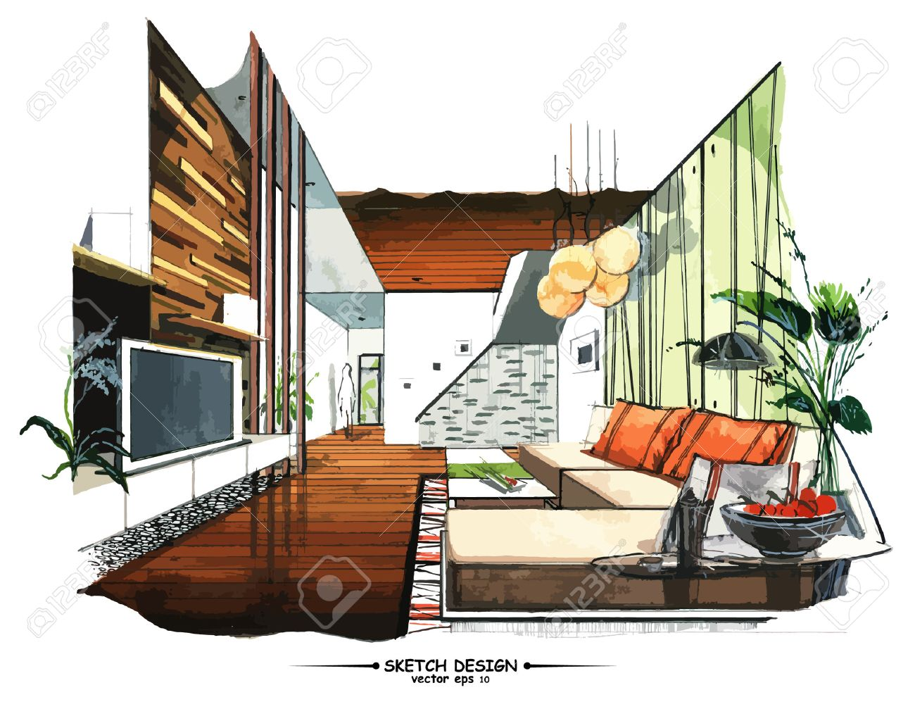 Innenarchitektur skizze wohnzimmer  Innenarchitektur Lizenzfreie Vektorgrafiken Kaufen: 123RF