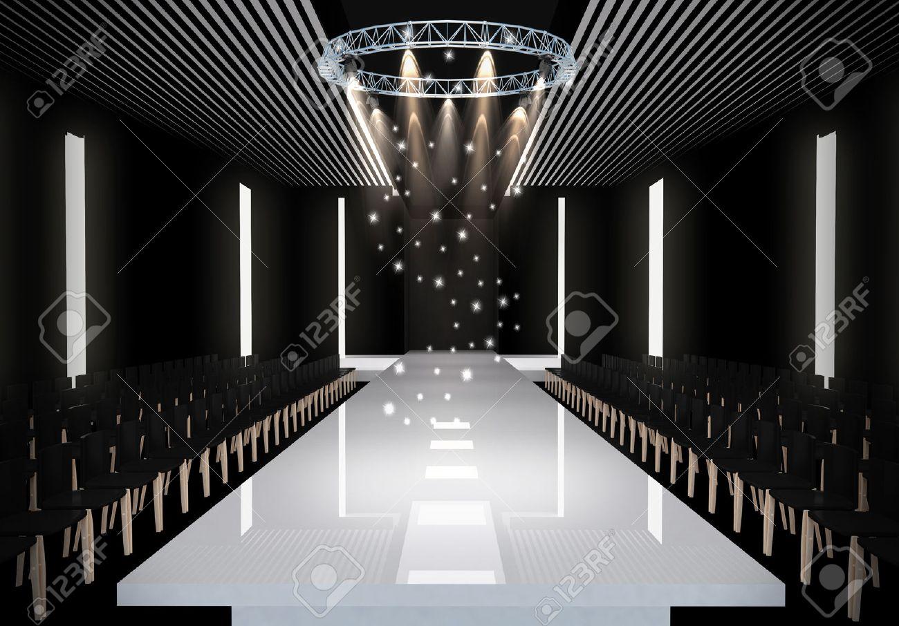 ファッション空滑走路の 3 D イラストレーション。ファッションショーの前に