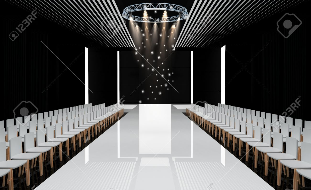 3D Illustration Of Fashion Empty Runway Before A Show Stock Photo