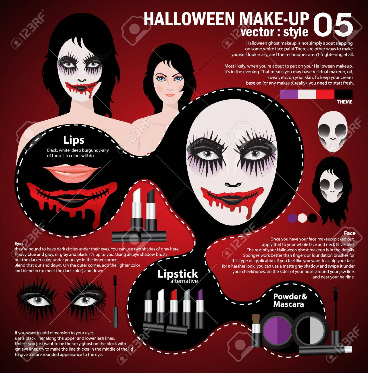 Infographic halloween make up,woman in day of the dead mask face art. Halloween