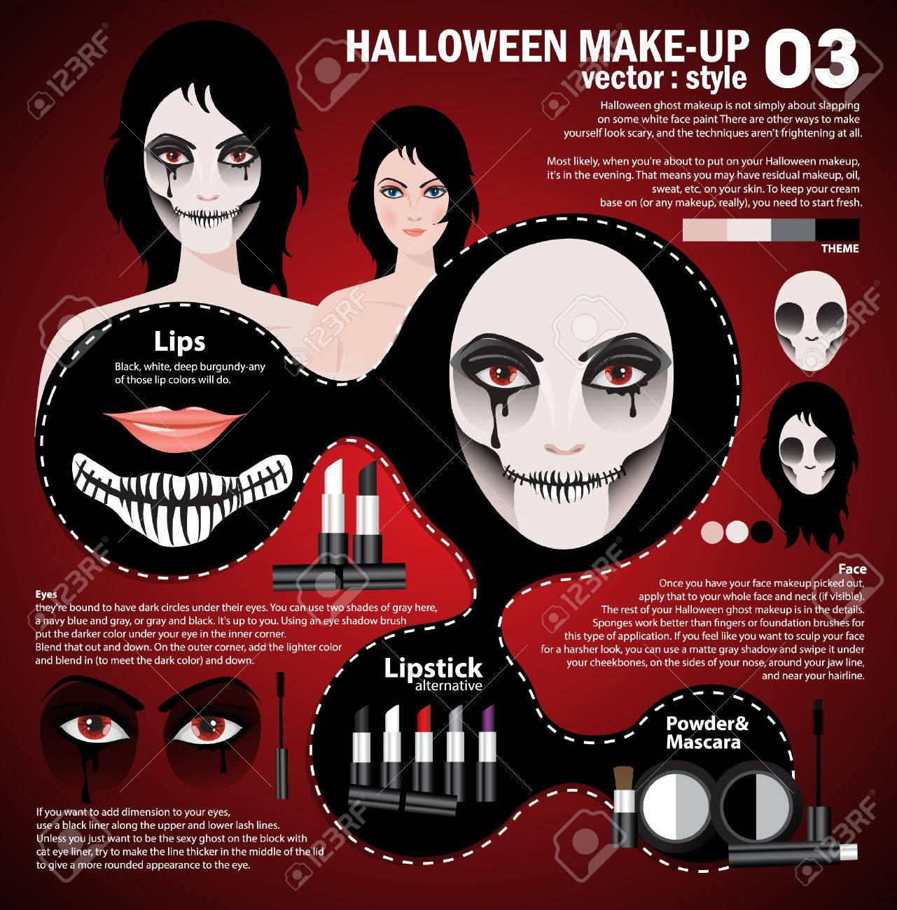 infographic halloween make upwoman in day of the dead mask face art halloween