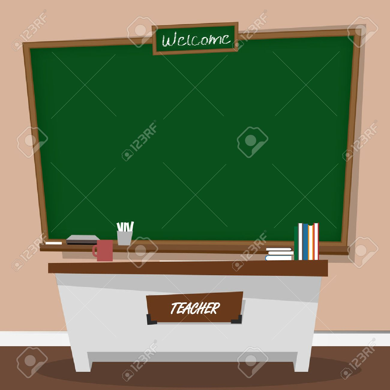 Vector illustration of classic chalkboard in classroom Stock Vector - 48842513