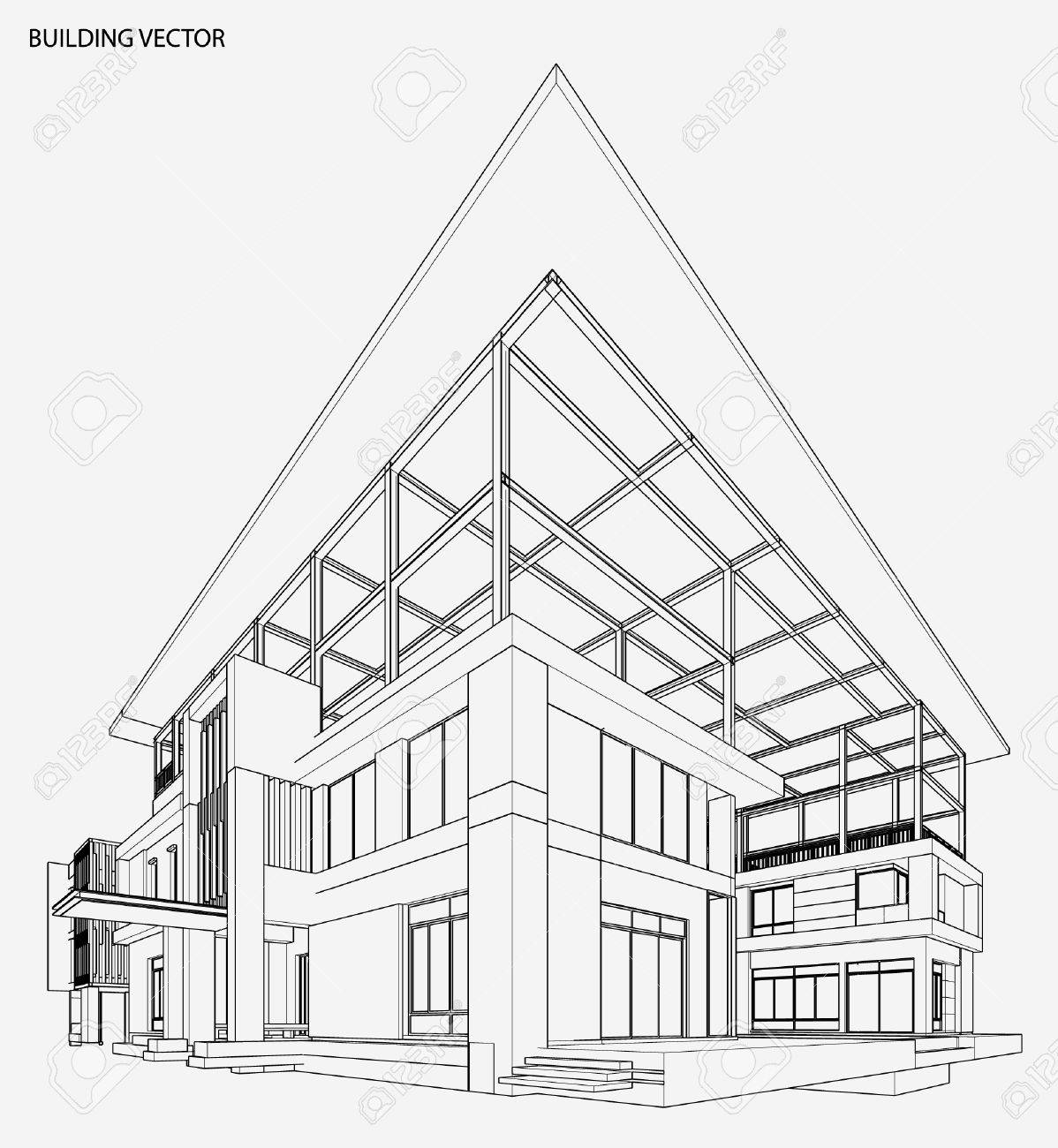 perspective 3d render of building wireframe royalty free cliparts